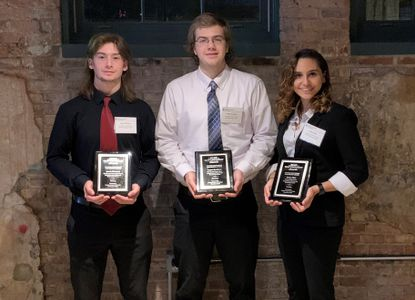 The Building Congress and Exchange, Baltimore, recognized three Carroll County Career and Technology Center students at its 2019 Craftsmanship Awards. Pictured, from left, are Jonah Maenner, Manchester Valley High School, welding; Logan Davidson, Winters Mill High School, electrical; and Ariana Diaz, Century High School, drafting, who were each presented with the Building Congress and Exchange Future Craftsman and Design Award. This scholarship award is presented to promising high school students who are pursuing careers, training, or degrees in the construction and design fields. The Award Committee reviewed more than 25 applications and met with 16 students before selecting winners.
