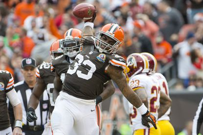 Running back Trent Richardson #33 of the Cleveland Browns celebrates after scoring against the Washington Redskins during the first half at Cleveland Browns Stadium on December 16, 2012 in Cleveland, Ohio.