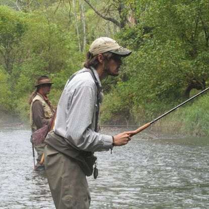 """Rob Lepczyk, front, and Val """"Coach"""" Pinhey prefer tenkara fishing, a method of Japanese fly-fishing meant to be more simplistic than """"Western"""" fly fishing."""