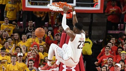 Bruno Fernando dunks the ball in first half against the Michigan Wolverines at the XFinity Center on March 3 in College Park.