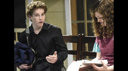 Andrew Spriggs, 14, rehearses a scene with Virginia Bonsal at Jemicy School in Owings Mills on Tuesday January 24, 2017.