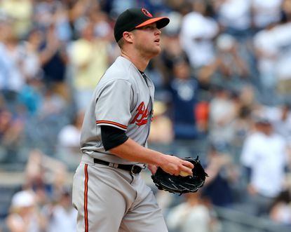 Former Orioles pitcherBud Norris reacts after Carlos Beltran of the New York Yankees hits a solo home run in the fourth inning on May 10, 2015 at Yankee Stadium.
