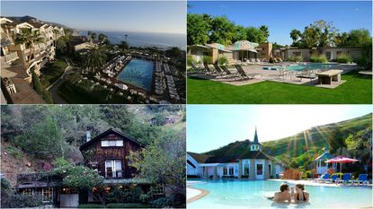 Clockwise, from top left: Montage Laguna Beach; the Hideaway, Palm Springs; Madonna Inn, San Luis Obispo; Deetjen's Big Sur Inn.