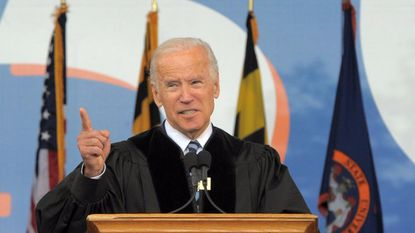"Democratic presidential candidate Joe Biden told Baltimore County campaign donors by phone that President Donald Trump can't ""get away with shredding the United States Constitution"" and that Trump has singled out the former vice president for attacks because Biden leads the Republican in head-to-head polls. In this 2017 file photo, Joe Biden gives a commencement address at Morgan State University in Baltimore."