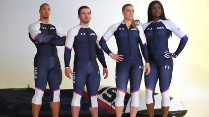 Hakeem Abdul-Saboor, Codie Bascue, Jamie Greubel and Aja Evans, all members of the U.S.Olympic bobsled team, in their Under Armour sledding uniforms.