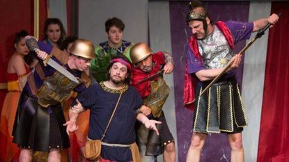 "A scene from Silhouette Stage's production of ""A Funny Thing Happened on the Way to the Forum."""
