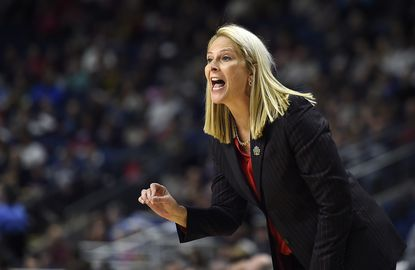Maryland head coach Brenda Frese shouts instructions during the second half of a regional semifinal game against Oregon in the NCAA women's college basketball tournament, Saturday, March 25, 2017, in Bridgeport, Conn.