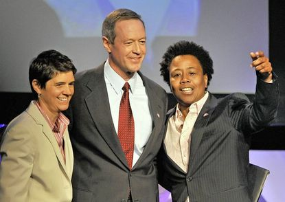 Executive Director Rea Carey, left, and Deputy Executive Director the Rev. Darlene Nipper of the National Gay and Lesbian Task Force join Gov. Martin O'Malley on stage after he spoke in support of legalizing gay marriage in Maryland. O'Malley was Sunday's keynote speaker at the National Gay and Lesbian Task Force: Creating Change conference, held at the Baltimore Hilton Convention Center.