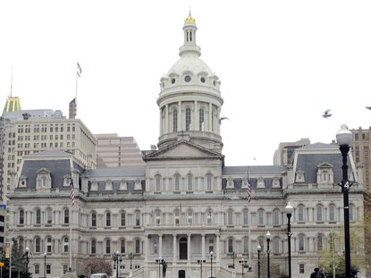 """The Baltimore City Council president's race is the first competitive contest for the position in about a decade, with Bernard C. """"Jack"""" Young having become mayor and incumbent Brandon Scott running to challenge him. City Hall is shown in this file photo."""