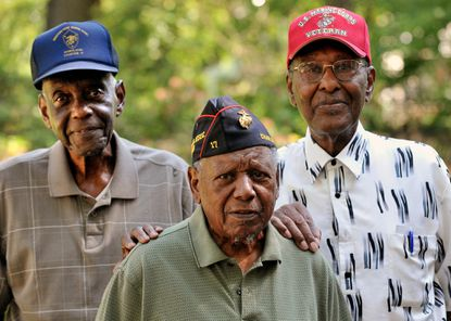 """William Foreman, Sr., Charles Wells, and Howard Williams were all """"Montford point Marines"""" during WWII and all helped integrate the Corps."""