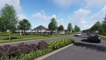 A rendering of the Bethany Lane entrance to the proposed Bethany Glen development in Ellicott City. Elm Street Development is proposing to construct 238 housing units on a 67-acre property.