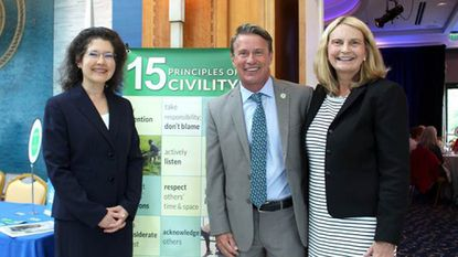 At the June 27 launch of Choose Civility Harford County are, from left, Valerie J. Gross, president of Education Enterprises for Libraries and founder of the national Choose Civility movement; Harford County Executive Barry Glassman; Harford County Library CEO Mary Hastler.