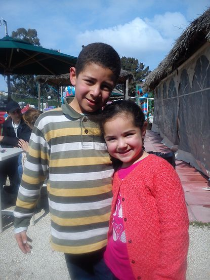 Eslam Chebbi (left), age 7, and Zainab Chebbi (right), age 5, taken earlier this year at a park in Tunis, Tunisia. Source:Édeanna Barbirou