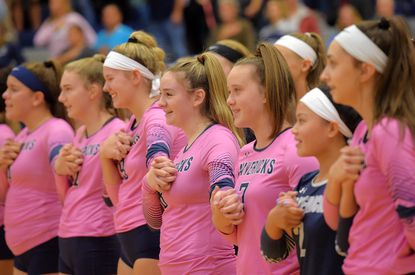 Manchester Valley's volleyball team wore pink jerseys in recognition of Breast Cancer Awareness Month during their match against Westminster in Manchester Monday, Oct. 7, 2019.