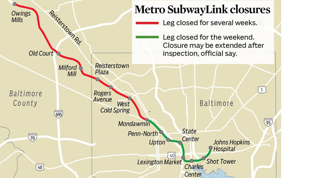 Northwest portion of Baltimore Metro system shut down for ... on map of hawaii hospitals, map of johns hopkins hospital, map of chicago area hospitals, map of grand rapids hospitals, map of northern new jersey hospitals, map of johns hopkins hopkins, map of charlotte hospitals, map of texas hospitals, map of phoenix area hospitals, map of tacoma hospitals, map of northeast ohio hospitals, map of lubbock hospitals, map of brisbane hospitals, map of seattle area hospitals, map of west michigan hospitals, map of walter reed national medical center, map of florida hospitals, map denver hospitals, map of orange county hospitals, map of boston area hospitals,