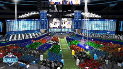 An artist's rendering of what the 2018 NFL Draft at AT&T Stadium in Arlington, Texas will look like when the draft takes place on April 26-28.
