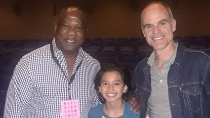"""Cast members of """"All Square,"""" from left, Isiah Whitlock Jr., Jesse Ray Sheps and Michael Kelly, at the Niarchos Foundation Parkway for the closing night of the 20th Maryland Film Festival."""