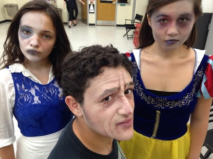 "Getting all ghouly for their roles in ""The Addams Family"" at Glenelg High School are, from left, Isabella Lopez, Ben Newman and Morganne Chu."