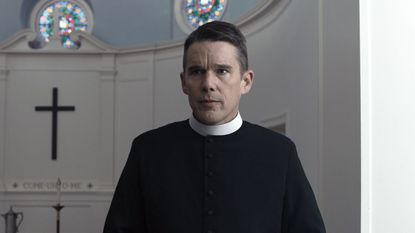 "This image from A24 shows Ethan Hawke in a scene from ""First Reformed."" Hawke was not nominated for an Oscar for his role in the film."
