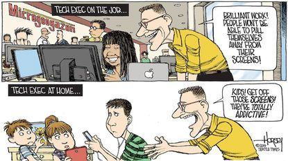 David Horsey: Regarding screen time, what's good for the tech exec isn't good for your family — or theirs.