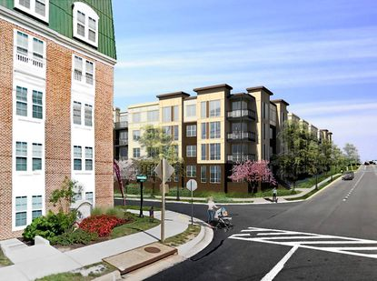 An artist rendering of The Winthrop, one of two luxury apartment buildings planned for Dulaney Valley Road in Towson.