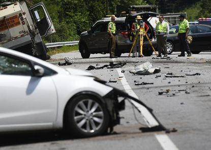 Street sweeper and cars crash in Hampstead, one teen airlifted for treatment, Md. 27 closed