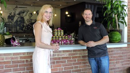 Greater Severna Park and Arnold Chamber CEO Liz League chats with general manager Devon Glaccum on the outdoor patio at Vida Taco Bar. Vida is one of 18 restaurants participating in Severna Park's Restaurant Week.