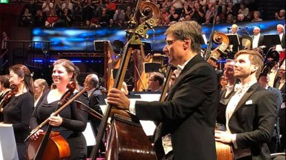 Members of the BSO during an ovation at Royal Albert Hall, where the orchestra made its BBC Proms debut.
