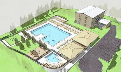 A rendering on the Towson Swim Club website had shown a perspective of what the property might look like after construction of the pool and clubhouse. The rendering was dated April 2011, and noted that the proposal was subject to change.