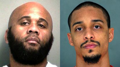 """A jury deliberated about nine hours over two days before declaring Roman Shankaras, right, not guilty of murder, assault, kidnapping, riot and conspiracy. Baltimore gang leader Royal Downs, left, had called Shankaras the """"puppet master."""""""