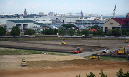 Baltimore's Board of Estimates is scheduled to vote on issuance of $148 million in bonds, the first phase of public financing for development of Port Covington, the formerly industrial area of South Baltimore owned by billionaire Under Armour founder Kevin Plank. Part of the area is shown in a July 1, 2019, photo.