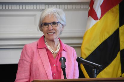 Fran Phillips, discusses her retirement from the Maryland Department of Health at a news conference at the State House in Annapolis on July 29, 2020. Phillips has been the state's top public health official.