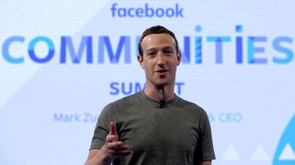 """Facebook CEO Mark Zuckerberg speaking at the Facebook Communities Summit, in Chicago in 2017, in advance of an announcement of a new initiative designed to spur people to form """"more meaningful communities"""" with Facebook's groups feature."""