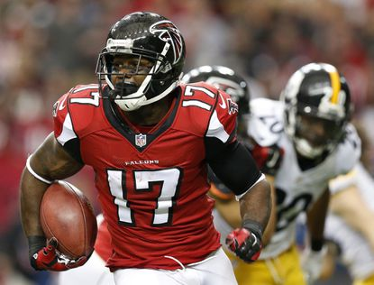 Falcons wide receiver Devin Hester runs against the Pittsburgh Steelers during the first half of an NFL football game, in Atlanta. The star return specialist set an NFL record with 20 career returns for touchdowns.
