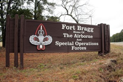 """In this Jan. 4, 2020, file photo a sign for at Fort Bragg, N.C., is shown. Defense Secretary Mark Esper and Army Secretary Ryan McCarthy, both former Army officers, put out word that they are """"open to a bipartisan discussion"""" of renaming Army bases like North Carolina's Fort Bragg that honor Confederate officers associated by some with the racism of that tumultuous time. Wednesday on Twitter, however, President Donald Trump expressed strong opposition to the idea. (AP Photo/Chris Seward, File)"""