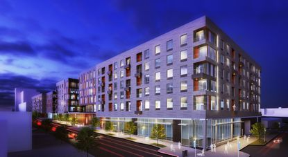 Rendering of the apartment buildings in first phase of the Poppleton redevelopment.