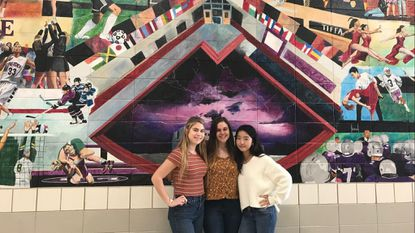 """From left, Megan McDonnell, Tori Ely and Katie Park received an honorable mention from C-SPAN for their documentary """"From the American Dream to Jail Cells: The treatment of immigrants in America."""""""
