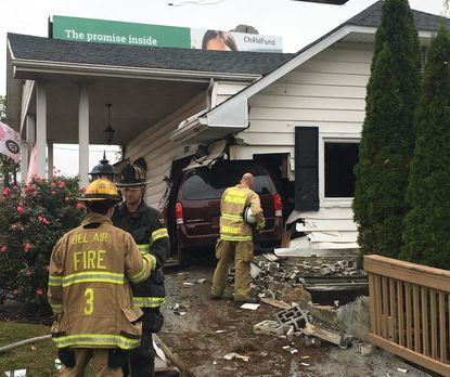An SUV left the roadway and crashed into the side of an office building in the 1300 block of Belair Road on Tuesday. No injuries were reported, according to emergency responders on the scene, only structural damage to the building. Maryland State Police are investigating the crash.