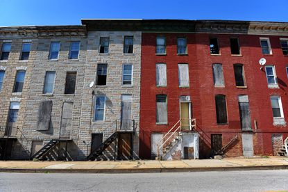 Vacant homes on Biddle Street in East Baltimore