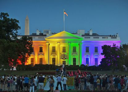 People gather in Washington's Lafayette Park to see the White House lit up in rainbow colors on the day the Supreme Court ruled to legalize same-sex marriage in one of the cultural shifts that took place in the last decade.