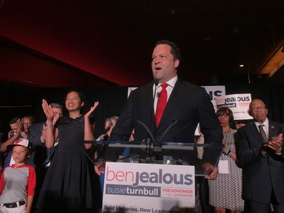 Ben Jealous speaks after claiming victory in the the Maryland Democratic gubernatorial primary election in Baltimore.