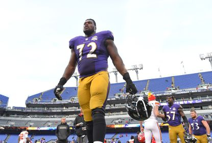 Ravens left tackle Kelechi Osemele walks off the field after a 34-14 loss to the Chiefs at M&T Bank Stadium.