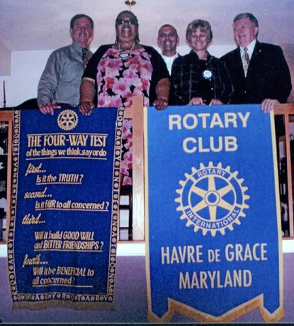 The Havre de Grace Rotary Club Board of Directors is, from lef,: Rory White, secretary; Winona Hilton-Stanley, vice president; Rob Magee, outgoing president; Carol Mathis, president; and Richard Allen, treasurer.