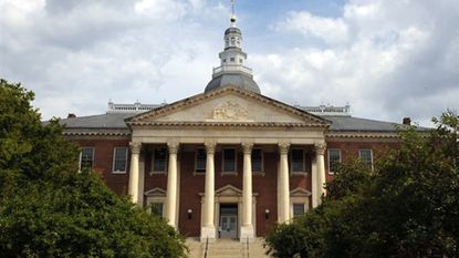 Maryland Comptroller Peter Franchot is defending his chief of staff, Len Foxwell, as the state Republican party calls for Foxwell to be fired over a Facebook post. This 2013 photo shows the State House in Annapolis.