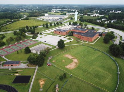 The site of the former North Carroll High School in Hampstead is pictured Thursday, Sept. 3, 2020. Coppermine has approached the board of commissioners expressing interest in purchasing the property.