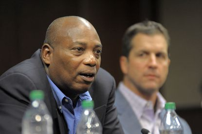 Ravens general manager, Ozzie Newsome and head coach John Harbaugh answer questions during the State of the Ravens conference at the team's pracice facility in 2012.