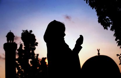 A Muslim girl prays at a mosque during the Muslim holy month of Ramadan in Silver Spring, Maryland two years ago.