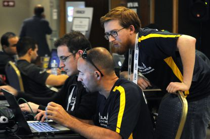 Members of the UMUC Cyber Padawans team compete in the CyberLympics finals in Barcelona in September.