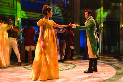 """Kate Abbruzzese as Elizabeth and A.J. Shively as Darcy in """"Pride and Prejudice"""" at Center Stage."""