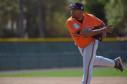 Sarasota, FL -- 02/25/2016 -- Baltimore Orioles pitcher Odrisamer Despaigne at the first day of workouts for position players as well as pitchers and catchers on the field during spring training at the Ed Smith Stadium complex.